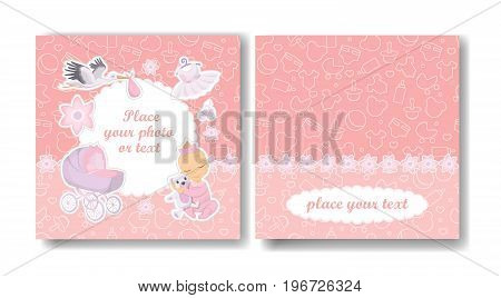 Girl album cover of pink photo book for new born girl.