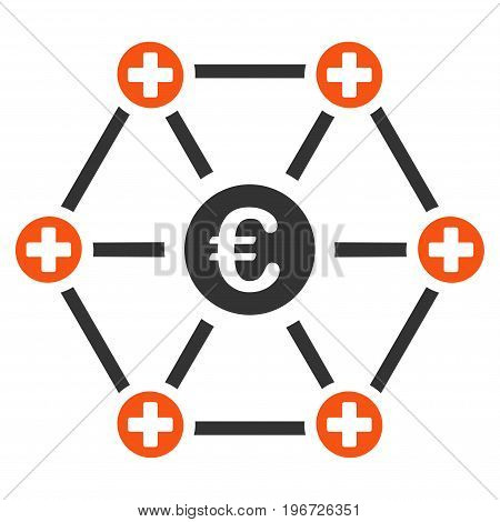 Euro Medical Network vector icon. Style is flat graphic symbol.