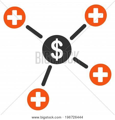 Financial Medical Links vector icon. Style is flat graphic symbol.