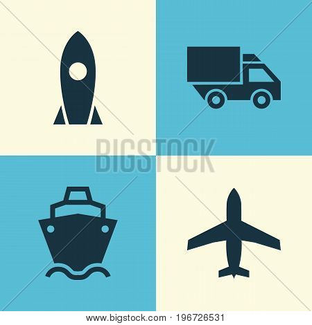Transportation Icons Set. Collection Of Tanker, Van, Aircraft And Other Elements
