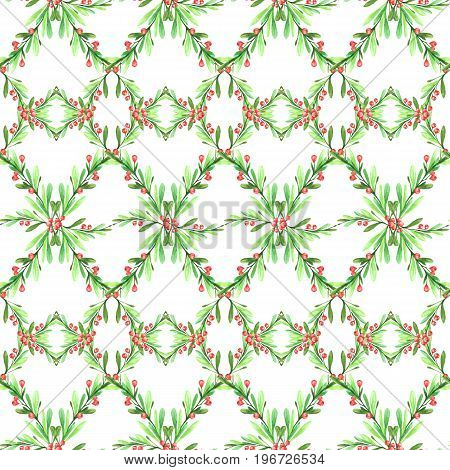 Watercolor geometric seamless pattern with leaves and berries. New Year. Merry Christmas. Celebration illustration.