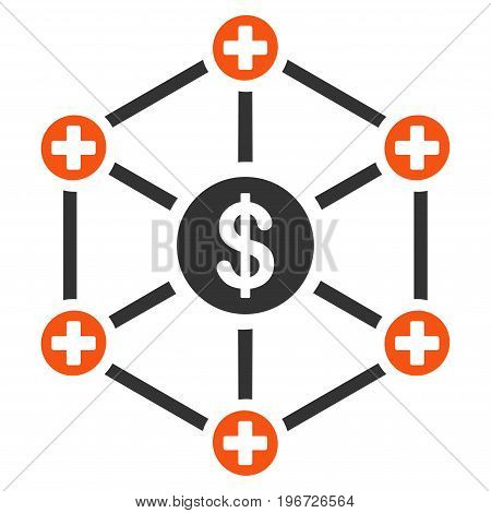 Financial Medical Network vector icon. Style is flat graphic symbol.