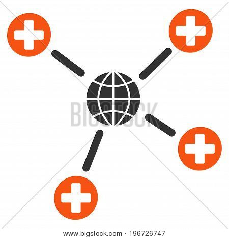Global Medical Links vector pictogram. Style is flat graphic symbol.