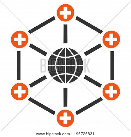 Global Medical Network vector pictogram. Style is flat graphic symbol.