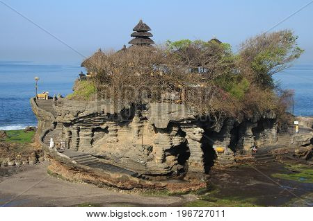 Balinese Temple Pura Tanah Lot in the morning time without people.