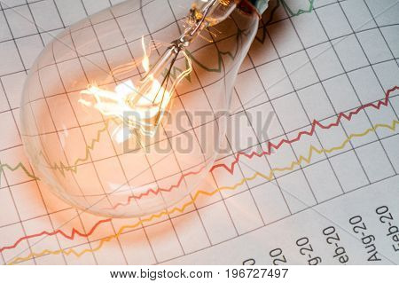 business chart and light bulb business idea concept.