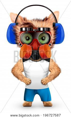 Funny dog with respirator isolated on white background. Constructor and handyman concept. 3D illustration