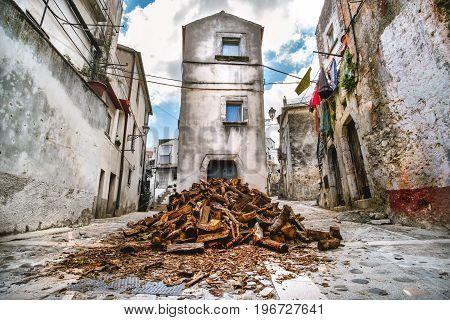 domestic heating firewood old in south italy village Vico del Gargano in Apulia
