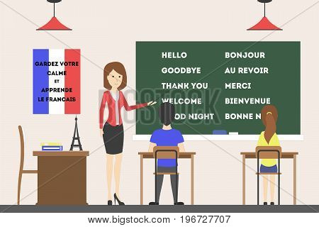 French language course. Students learn new language, new words and new culture.