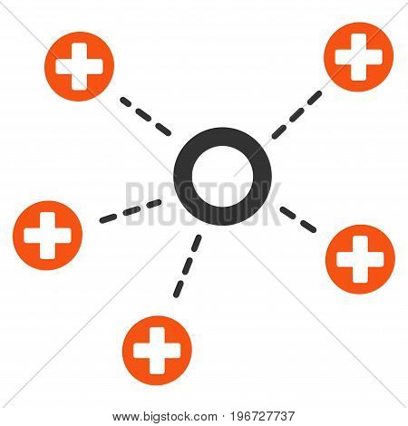Medical Connections vector pictogram. Style is flat graphic symbol.