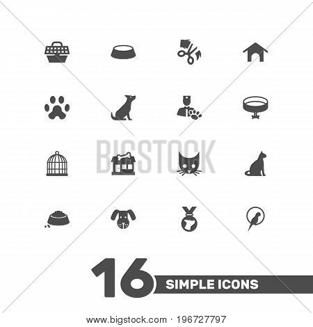 Collection Of Home, Food, Birdcage And Other Elements.  Set Of 16 Animals Icons Set.