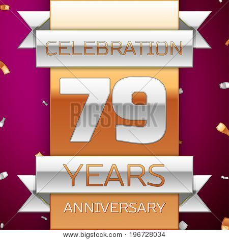 Realistic Seventy nine Years Anniversary Celebration Design. Silver and golden ribbon, confetti on purple background. Colorful Vector template elements for your birthday party. Anniversary ribbon