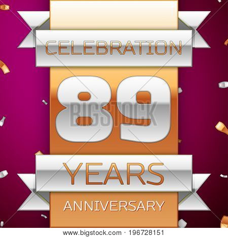 Realistic Eighty nine Years Anniversary Celebration Design. Silver and golden ribbon, confetti on purple background. Colorful Vector template elements for your birthday party. Anniversary ribbon