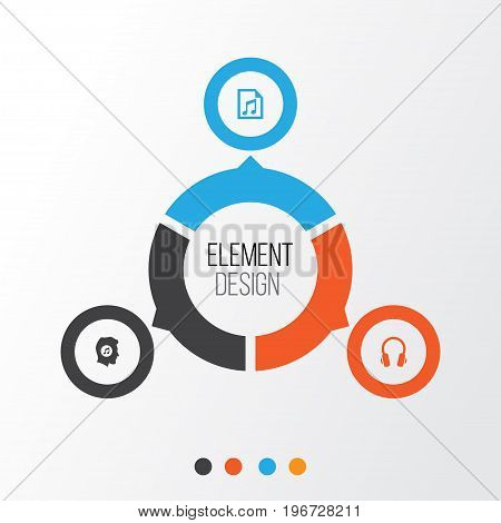 Multimedia Icons Set. Collection Of Earphone, Meloman, File And Other Elements