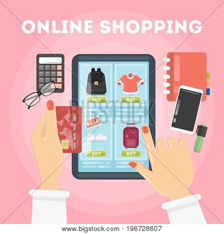 Online shopping illustration. Buying with tablet and credit card.