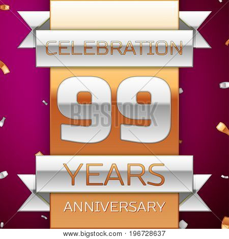 Realistic Ninety nine Years Anniversary Celebration Design. Silver and golden ribbon, confetti on purple background. Colorful Vector template elements for your birthday party. Anniversary ribbon
