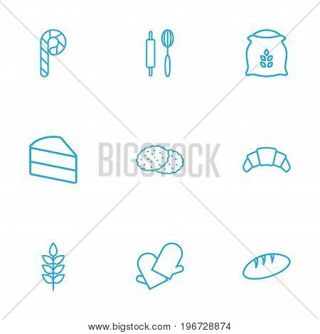Collection Of Bread, Croissant, Rolling Pin And Other Elements.  Set Of 9 Food Outline Icons Set.