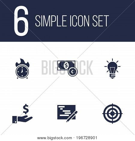 Collection Of Currency, Goal, Writing And Other Elements.  Set Of 6 Idea Icons Set.