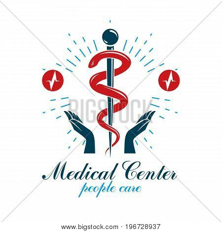 Pharmacy Caduceus vector icon medical corporate logo for use in rehabilitation or pharmacology business.