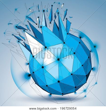 Vector dimensional wireframe blue object with radiance circles spherical demolished shape with particles and wreckage. 3d black lines mesh element broken into pieces. Digital technology art.
