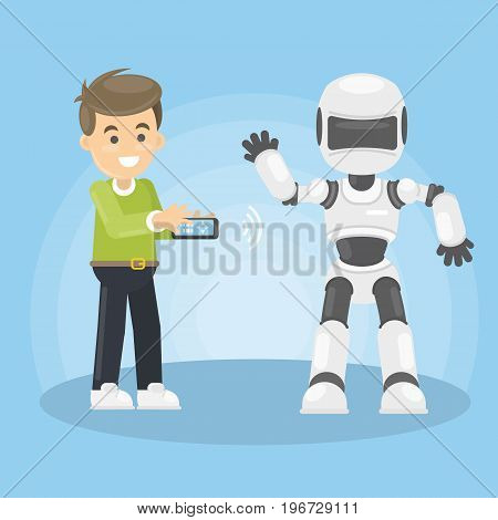Man controls robot. Smiling boy with remote controller and white futuristic robot.