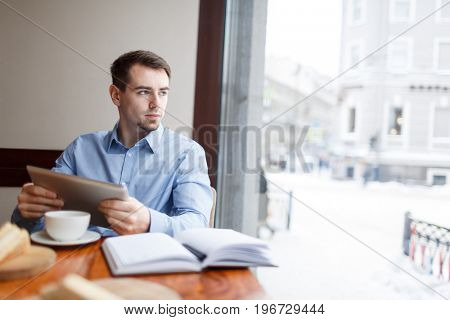 Businessman brainstorming while thinking of new project
