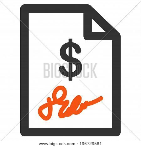 Signed Invoice vector pictogram. Style is flat graphic symbol.