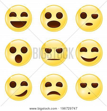 Set of Emoticons. Set of Emoji. Emoticon icons. Isolated vector illustration.