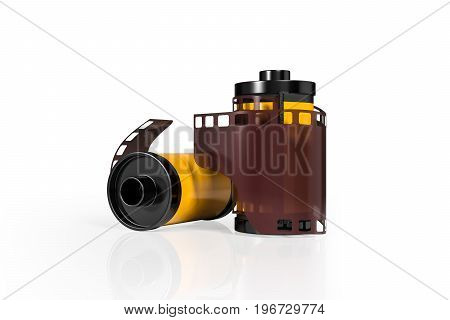 3d rendering front view of yellow film camera rolls isolated on white background with clipping paths.