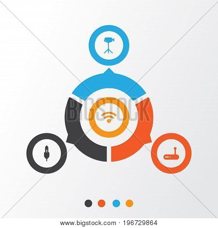 Computer Icons Set. Collection Of Wireless, Aux Cord, Router And Other Elements