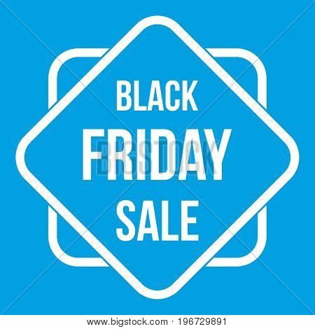 Black Friday sale sticker icon white isolated on blue background vector illustration