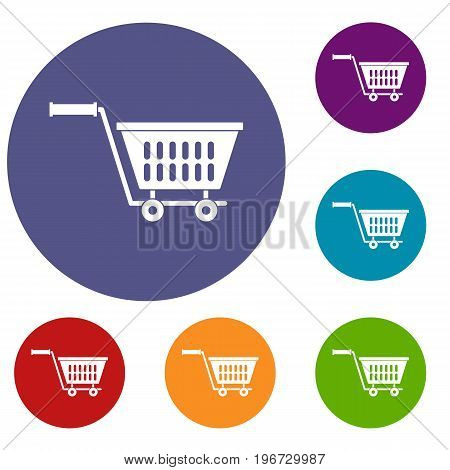 Plastic shopping trolley icons set in flat circle red, blue and green color for web