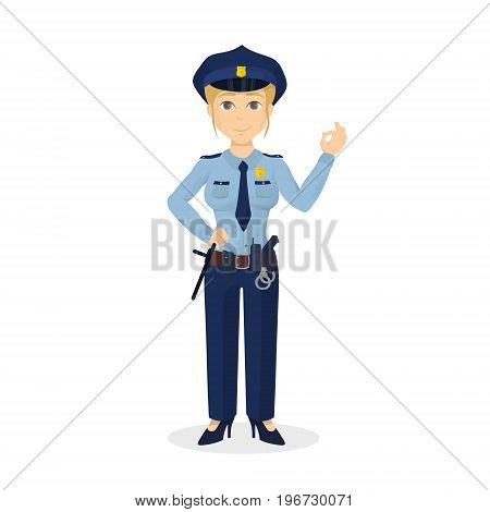 Isolated ok policewoman on white background. Happy positive woman.