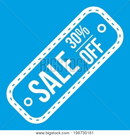 Sale tag 30 percent off icon white isolated on blue background vector illustration