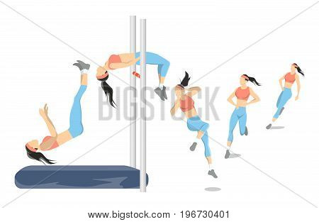 High jump illustration. Woman shows how to high jump. Body positions.