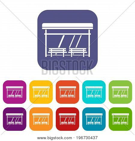 Bus stop icons set vector illustration in flat style in colors red, blue, green, and other