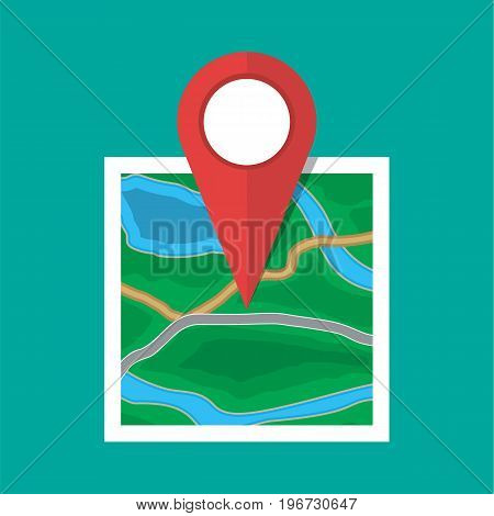 Abstract square generic city or suburb map with roads, buildings, parks, river. Map with red marker pin. Vector illustration in flat style