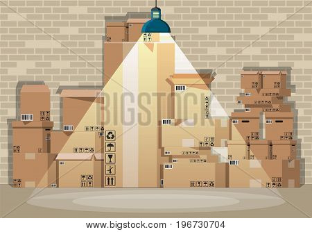Pile cardboard boxes set in warehouse. Carton delivery packaging open and closed box with fragile signs. Brick wall and lamp. Vector illustration in flat style
