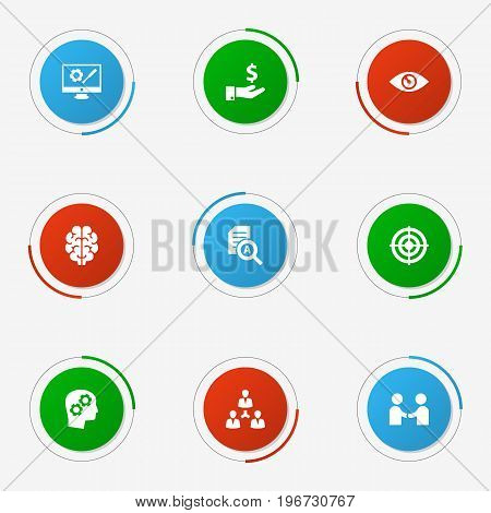 Collection Of Unity, Vision, Thinking Head And Other Elements.  Set Of 9 Business Icons Set.