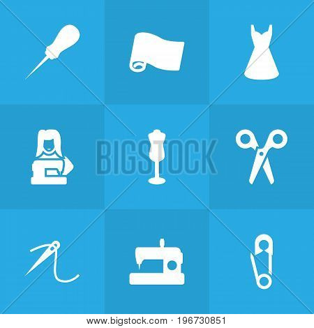 Collection Of Roll, Machine, Bodkin And Other Elements.  Set Of 9 Tailor Icons Set.