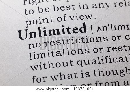 Fake Dictionary Dictionary definition of the word unlimited.