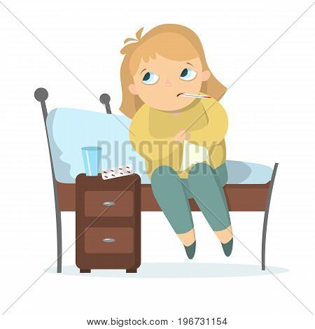 Isolated sick girl sitting on the bed with thermometer and pills.