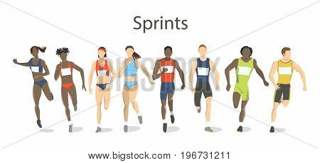 Isolated sprinters set on white background. Athletes running in uniform.