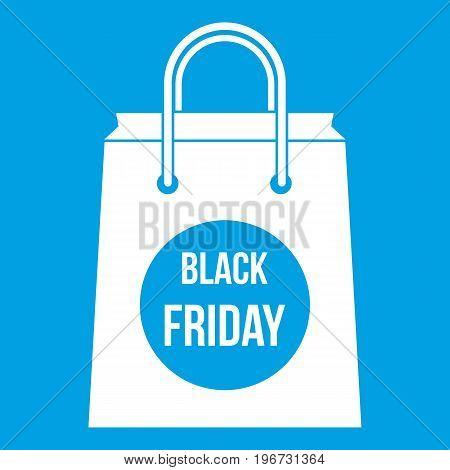Black Friday shopping bag icon white isolated on blue background vector illustration