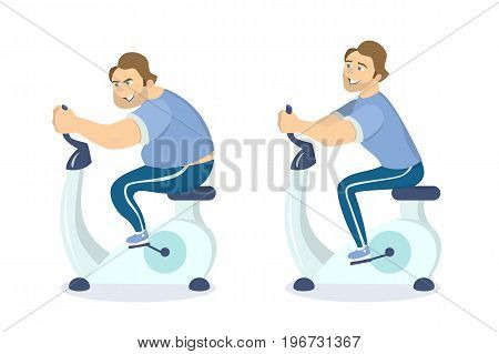 Before and after exercising on the gym bicycle. Man looses weights.