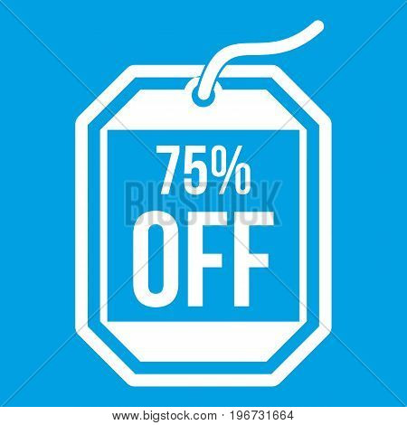 Sale tag 75 percent off icon white isolated on blue background vector illustration