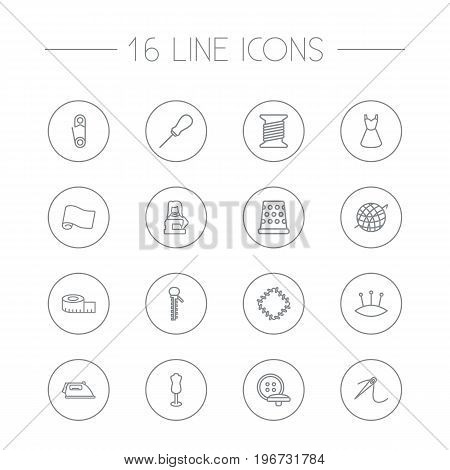 Collection Of Tremble, Bobbin, Pincushion And Other Elements.  Set Of 16 Sewing Outline Icons Set.