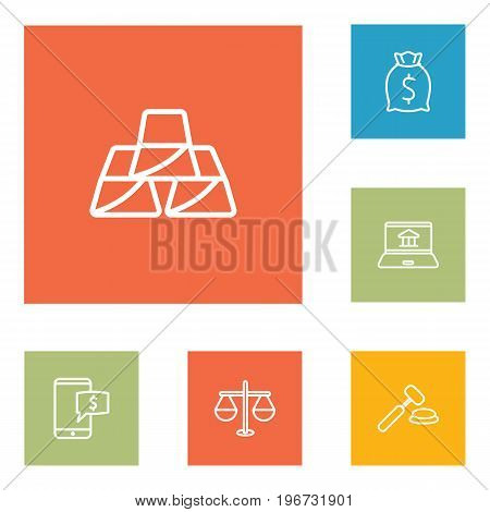 Collection Of Moneybag, Auction, Justice And Other Elements.  Set Of 6 Budget Outline Icons Set.