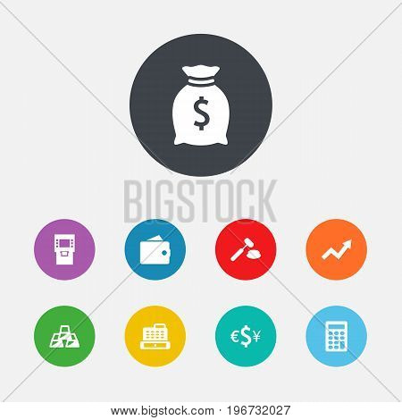 Collection Of Calculate, Judge, Currency And Other Elements.  Set Of 9 Budget Icons Set.