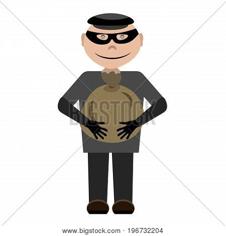 A cartoon thief wearing a black mask and a cap with a bag of money in his hands. Bandit holds a cute bag vector character in a flat style